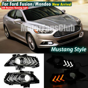 Led Daytime Running Light Drl For Ford Fusion Mondeo Fog Lamp With Turn Signal