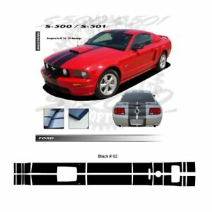 Ford Mustang Gt 2005 2009 W Hood Scoop Gloss Black Stripes Graphic Kit