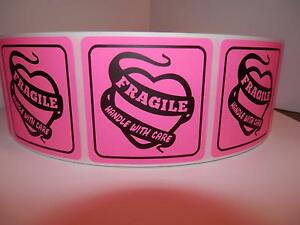 Fragile Handle With Care 2x2 Warning Sticker Label Fluorescent Pink 250 rl