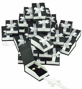 Lot 36 Earring Pendant Box Black Pendant Box Magnetic Ribbon Jewelry Gift Box