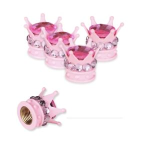 Bling Bling Car Accessories Pink Crystal Diamond Crown Tire Valve Stem Caps