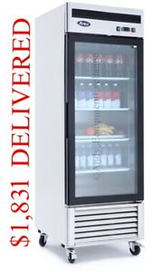 Single 1 Glass Door Commercial Refrigerator Cooler Merchandiser Store Display