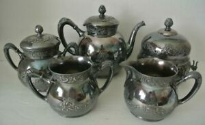Ornate 5pc Antique Pairpoint Victorian Quadruple Silver Silverplate Tea Set 333