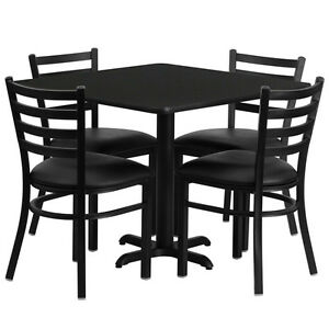 Lot Of 10 Restaurant Table Sets 36 Black Laminate W 4 Chairs Per Set