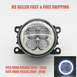 6000k White Led Fog Light W Angle Eyes Replacement For 14 17 Ford Fusion Fiesta