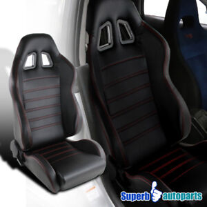 Black Racing Seat Red Strips Style Stitching Pvc Leather Passenger Right Side