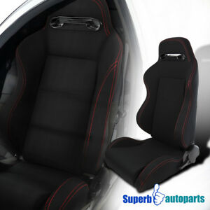 Black Red Stitching Speed Buckle Racing Seat Reclinable Style Driver Left Side