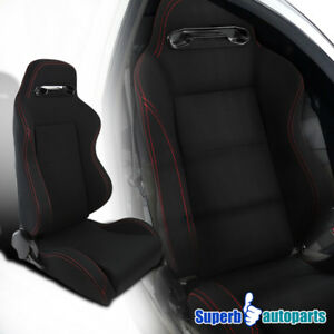 Black Red Stitching Speed Buckle Racing Seat Reclinable Passenger Right Side