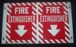 Lot Of 6 New 6g742 Rigid Plastic Fire Extinguisher Arrow Sign 12x18