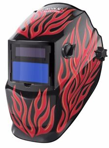 Lincoln K3446 1 Red Steel Helmet Variable Shade 9 13 Auto Darkening Lens