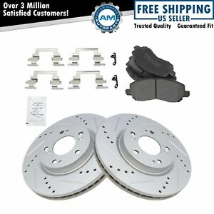 Front Posi Metallic Disc Brake Pad Performance Drilled Slotted Coated Rotors