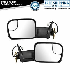 Tow Mirror Power Heated Upgrade Turn Signal Textured Black Pair For Dodge Ram