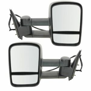 Tow Mirror Power Heated Textured Black Pair Set For Silverado Sierra Pickup New