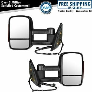 Tow Mirror Power Heated Signal Textured Black Pair Set For Gm Pickup Truck New