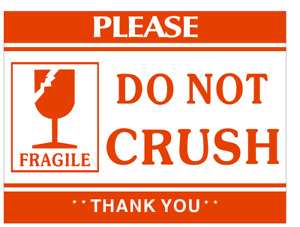 1000 Labels 2x3 Fragile Do Not Crush Shipping Mailing Handle With Care Stickers