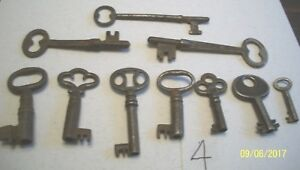 10 Very Good Original Antique Steel Skeleton Keys Lot 4