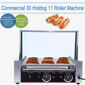 Commercial 30 Hot Dog 11 Roller Grill Stainless Steel Cooker Machine W Cover