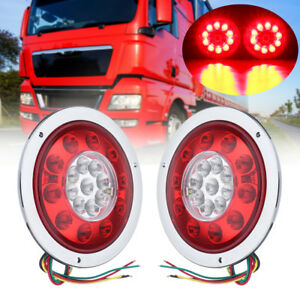 2x 4 3 Round 19 Led Truck Trailer Lorry Brake Stop Turn Tail Light Chrome Ring