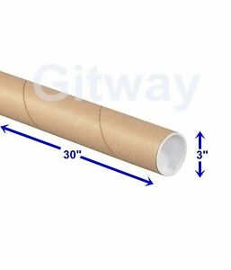 3 X 30 Cardboard Poster Shipping Mailing Mail Postal Tube 3x30 Box Tubes
