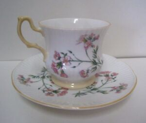Queens Fine Bone China Tea Cup Saucer Rosina Tan Decorative Handle Trim