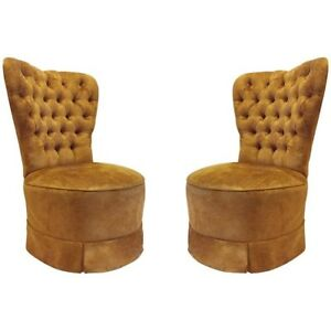 Pair Vintage Hollywood Regency French Barrel Back Lounge Chairs Dorothy Draper