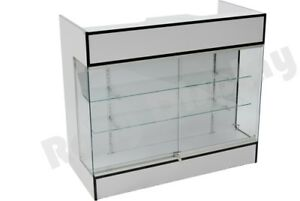 White Ledgetop Counter Display Showcase Store Fixture Knock Down sc ltc gl4w