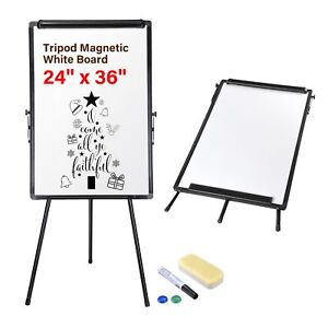 24 x36 Magnetic Dry Erase White Board With Tripod Flipchart Stand Office Home
