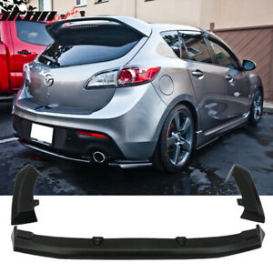 Fits 10 13 Mazda 3 Hatchback 3 Piece Rear Lip Apron Diffuser Fits Dual Exhaust
