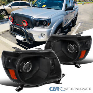 For 05 11 Toyota Tacoma Matte Black Projector Headlights Head Lamps Left Right