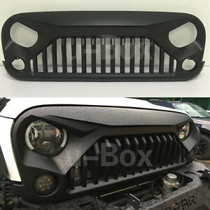 Matte Black Angry Bird Upgraded Grill Grille For 2007 2018 Jeep Wrangler Jk