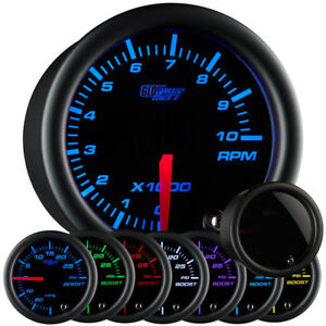 Glowshift 52mm Smoked Lens 7 Color Led Tachometer Gauge Meter Kit