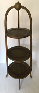 Original Antique Muffin Plant Stand 3 Tier Circular Gold 36