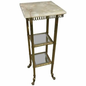 French Onyx And Brass Two Tiered Plant Stand With Claw Feet Circa 1880