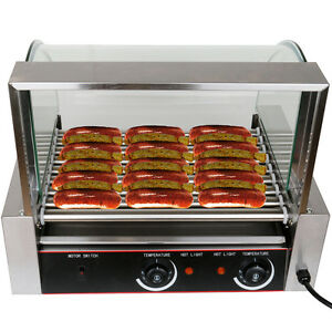 Commercial Roller Dog 24 Hot Dog 9 Roller Grill Cooker Machine 8rows Of 3 batch