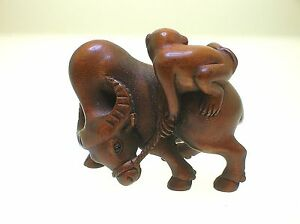 Magnificent Example 19th C Wood Netsuke Inlaid Glass Eyes Monkey Riding Buffalo