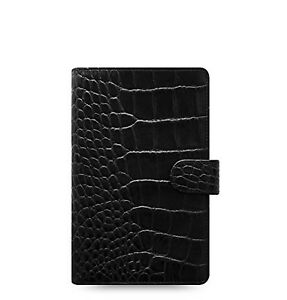 Filofax Classic Croc Ebony Black Personal Compact Leather Organizer Ring Binder