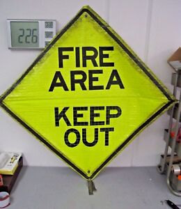 Reflective Roll up Construction Traffic Sign 48 X 48 fire Area And merge