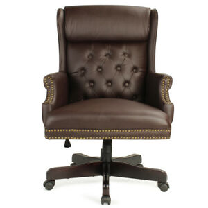 Wingback Traditional High Back Button Tufted Styling Office Desk Chair Brown