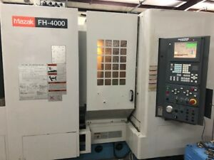 Used Mazak Fh 4000 Cnc Horizontal Mill 2001 Fusion Fourth Axis 80 Tools Tsc Chip