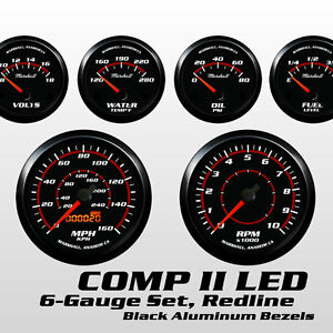 C2 Redline 6 Gauge Set Black Bezels 73 10 Ohm Fuel Level Electric Speedo