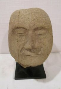 Antique Pre Columbian Huastec Or Diquis Carved Stone Trophy Head 500 To 1000 Ad