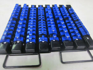 2 Blue 98 Clips Socket Tray Holder Organizer Rail Rack 1 4 3 8 1 2 Dr Abs