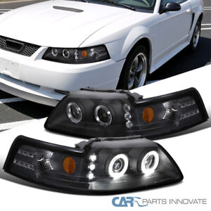 For 99 04 Ford Mustang Black Led Halo Projector Headlights Head Lamps Left Right