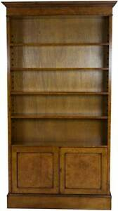 New Antique Style Burled Walnut Tall Open Bookcase Bookshelf W Doors Adjustable