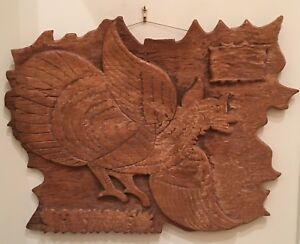 Unusual Antique 18th C Carved Wood Bird Plaque Or Frieze