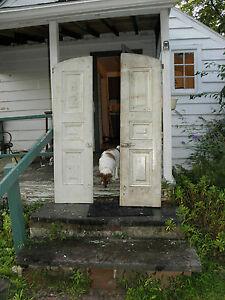 2 Antique Arched White Topped Solid Wood Shutters W Blacksmithed Latched