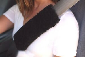 2 Black 9 Short Curly Wool Merino Sheepskin Seat Belt Shoulder Strap Pad Covers