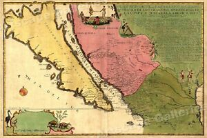 1720s French Wall Map California New Mexico 20x30