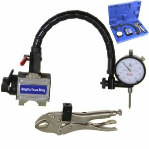 Dial Indicator 1 001 Flexible Arm Any Surface Magnetic Base Grip Locking Vise
