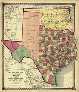 1875 County Map Of Texas Counties And Indian Territory 20x24